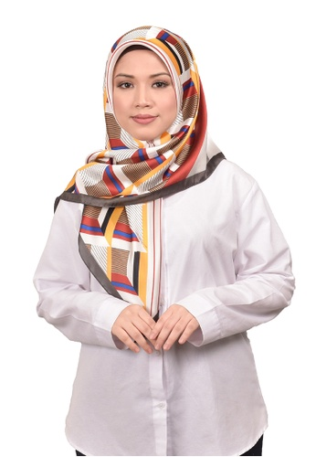 FATIMÉ grey and red and blue Satin Square Hijab Block (Grey) 54EF1AAF2AA376GS_1