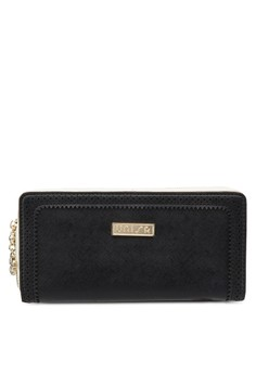 Perforated Facile Edge Ladies Zip-Up Clutch Wallet