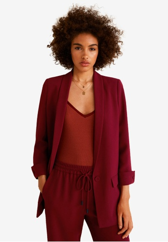 MANGO red Shawl Collar Structured Blazer 8EE89AA53677EAGS_1
