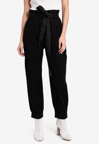 Something Borrowed black Contrast Stitch Paperbag Pants E86ECAACD38DB4GS_1