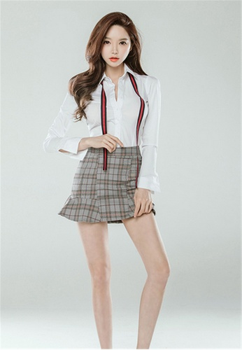 966490f9ca Crystal Korea Fashion white Slim Shirt + Plaid Holder Skirt Two-piece suit  CR681AA2V3L8HK_1