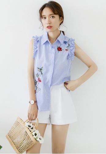 Shopsfashion blue  Embroidery Sleeveless Top SH656AA0FDKASG_1