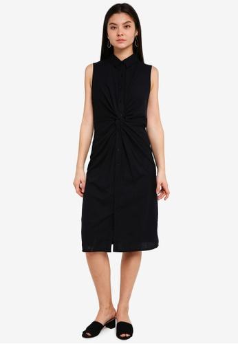 WAREHOUSE black Linen Twist Shirt Dress 1FD9AAA8A5E929GS_1