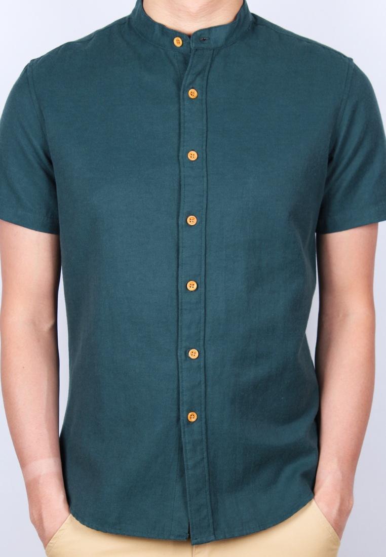 Collar Sleeve Shirt Green Moley Classic Mandarin Short RSx5q7v