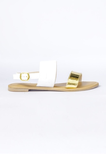 HDY white and gold Trixie Flats Sandals HD484SH06RERPH_1