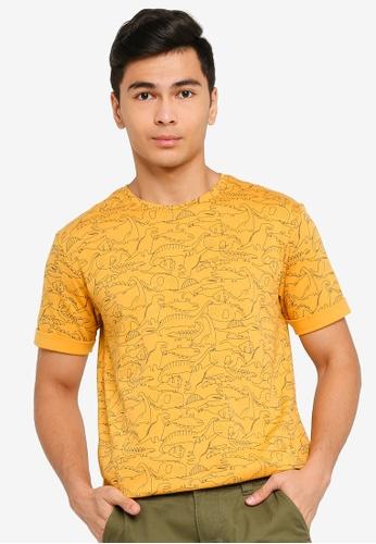 UniqTee yellow Dinosaur Printed Tee E53F3AA12AA135GS_1