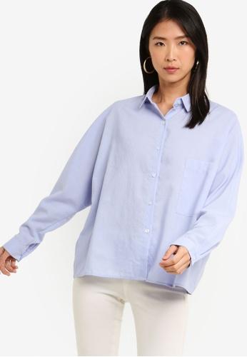 ZALORA BASICS blue Basic Oversized Boxy Collar Shirt 2504EAAF4807FDGS_1