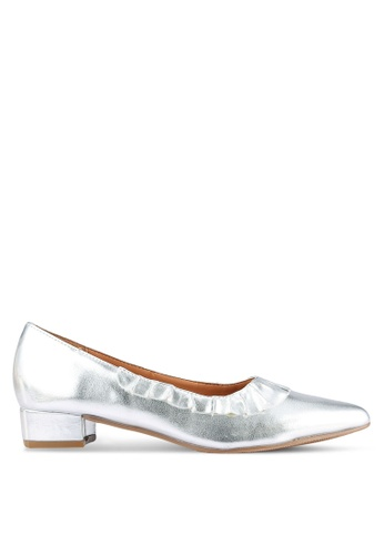 Velvet silver Block Heels with Frill Detail 50A49SHE119311GS_1