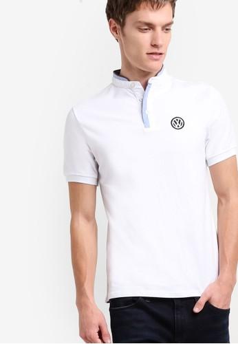 撞色中式領短袖TEE,zalora 包包 ptt 服飾, Polo衫