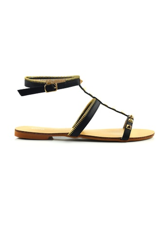 SHINE black Flat Sandals With Stud SH554SH98PXLSG_1
