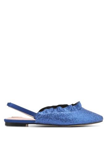 Velvet blue Ruffle Ballet Flats FE3C6SH95D52E3GS_1