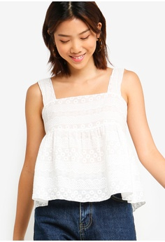 9bcb5bdcc8 Something Borrowed white Embroidered Babydoll Top D6E17AA01169E3GS_1