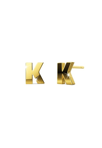 Bullion Gold gold BULLION GOLD Bold Initial Alphabet Letter Earrings Gold Layered Steel Jewellery- K EB8C6ACDC84AE7GS_1
