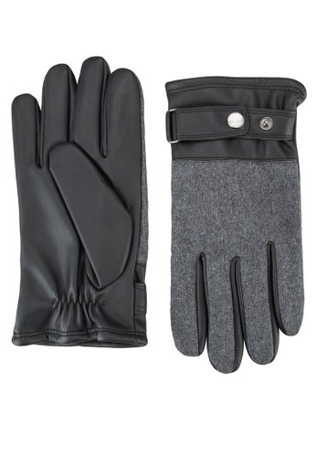 拼接材質皮革手套, 飾esprit 香港品配件, 飾品配件