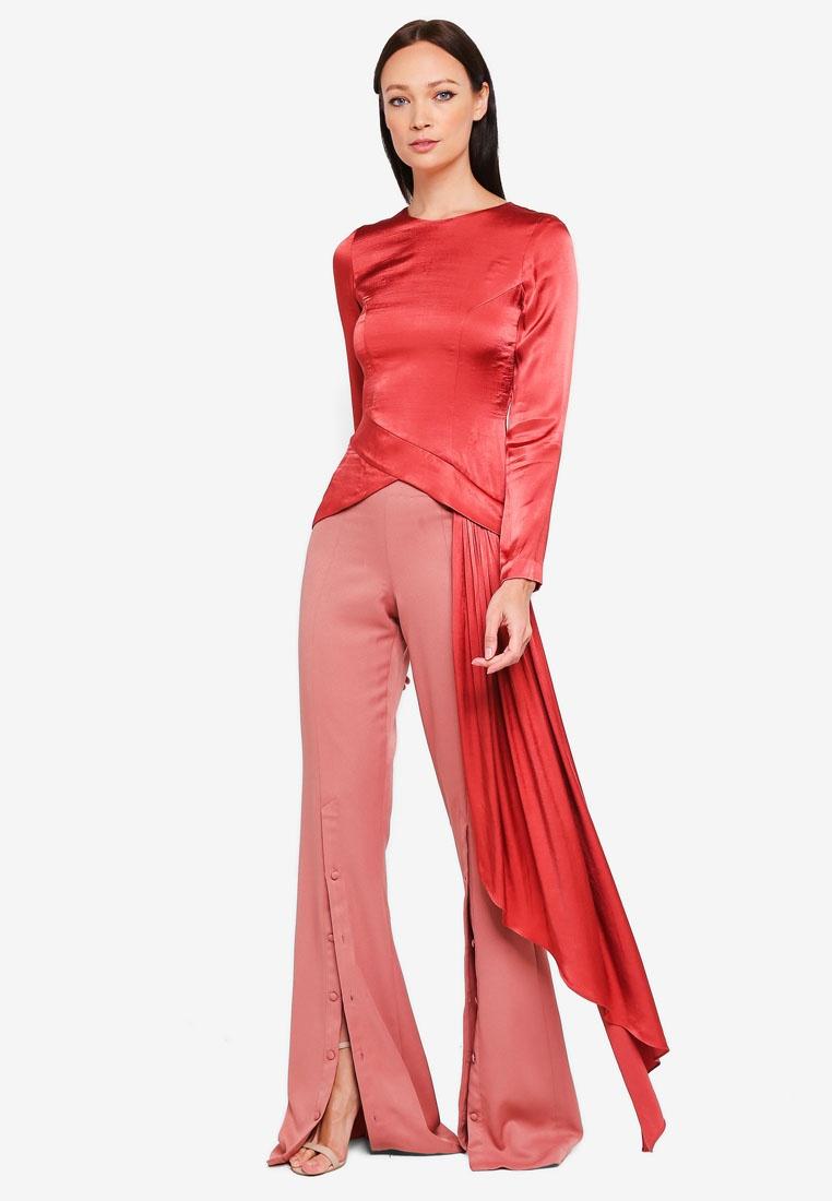 Draped Top Salmon Pink Handkerchief Kourtney 3thelabel znTWRxCx