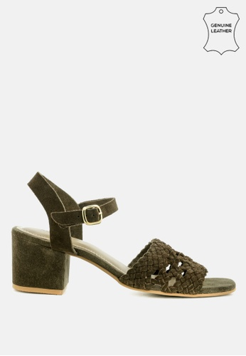 RAG & CO 綠色 编织麂皮粗跟凉鞋 55E55SH8CA2BA7GS_1