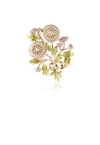Glamorousky silver Fashion and Elegant Plated Gold Double Chrysanthemum Brooch AF391AC50FAEFDGS_1