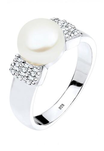 Elli Germany white Perhiasan Wanita Perak Asli - Silver Cincin Classic Swarovski® Crystal Mutiara Putih 57D63AC6AC0A7EGS_1