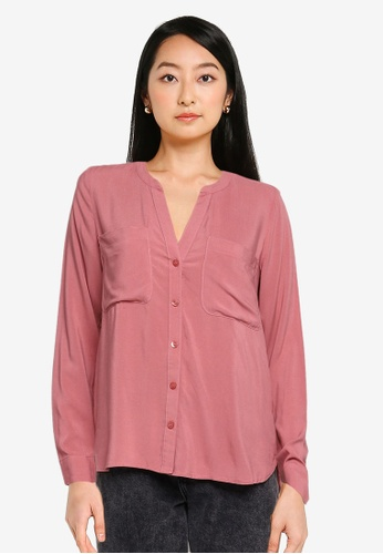 ZALORA BASICS pink Long Sleeve Pocket Detail Blouse 44BB1AAFED9A9FGS_1