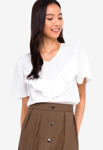 ZALORA 白色 短袖荷葉飾上衣 BAACBAA3AF5570GS_1