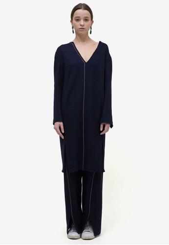 撞色縫綫長版上衣, 服飾,esprit 床上用品 洋裝