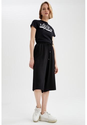 DeFacto black Short Sleeve Round Neck Cotton T-Shirt BFB9AAAF64C076GS_1