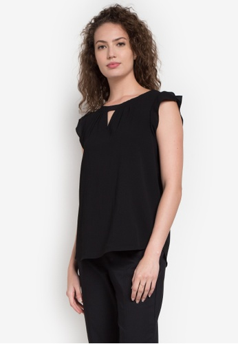 Joe Fresh black Flutter Cap Sleeve Top JO088AA0K86FPH_1