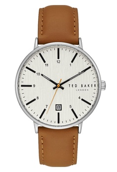TED BAKER white and silver and brown Ted Baker Men s TE50080001 Harris  Leather Casual Analog Watch 32a1c824d4