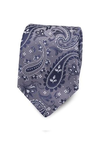 Burton Menswear London grey Grey Paisley Print Tie BU964AC0RH95MY_1