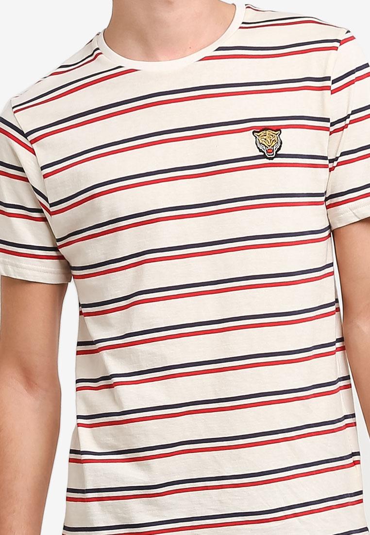 Shirt Topman White Badge Cream Stripe Tiger T x0AUIq
