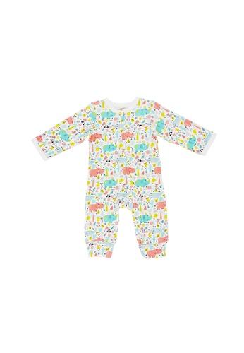 Baby Lovett white Nature Safari Two-Way Zipper Suit 16B6CKA919FC77GS_1