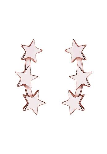 Elli Germany gold Elli Germany Earring 925 Sterling Silver Rose Gold-Plated Stars EL474AC0SEV2MY_1
