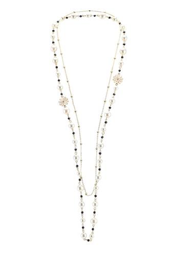 Red's Revenge black enamel flower charm long pearl necklace C7F1EAC260FC97GS_1