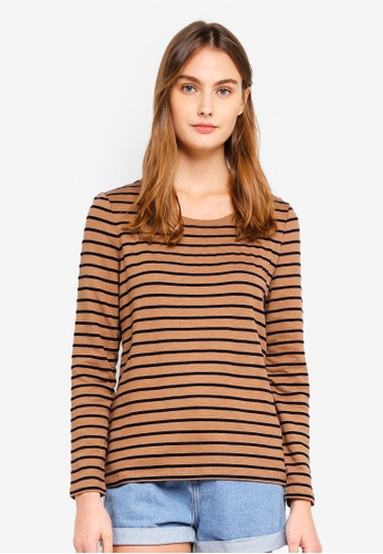ESPRIT brown Velvet Stripes Long Sleeve Top 47A49AA58CC3FBGS_1