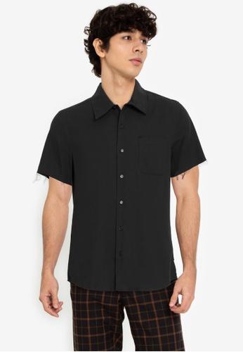 ZALORA BASICS black Unfinished Hem Shirt 22187AA9C4C022GS_1