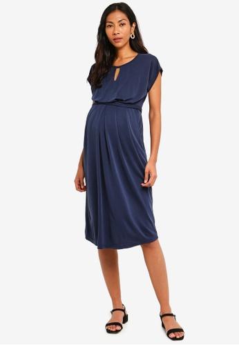 2264ec500 JoJo Maman Bébé navy Keyhole Pleated Maternity And Nursing Dress  94FDCAA9841D81GS 1