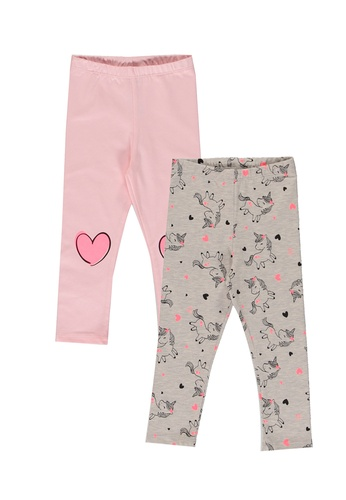 LC Waikiki grey Baby Girl Printed Long Leggings 2 Pieces 2DDF1KA3C74710GS_1