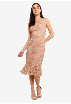 6e31fa2386 52% OFF Lipsy Vip Nude Lace Ivory Contrast Flippy Hem Dress S  285.90 NOW  S  135.90 Sizes 6 8 10 12 14