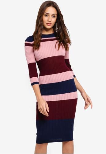 ZALORA multi and navy Fashion Knit Bold Stripes Dress 31D4DAA8F565E0GS_1
