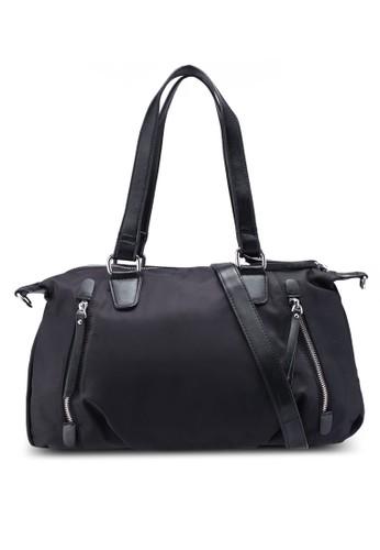 NUVEAU black PU-Trimmed Nylon Convertible Shoulder Bag C425EAC287AE59GS_1