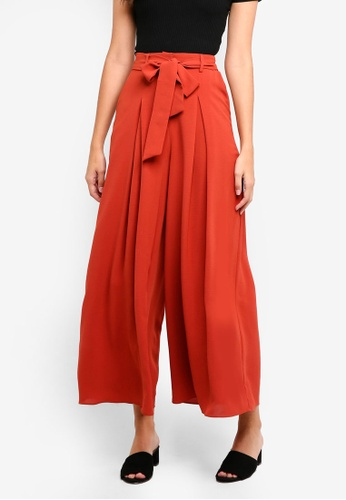 ZALORA orange High Waisted Pleat Front Trousers EDD9AAABCA7481GS_1
