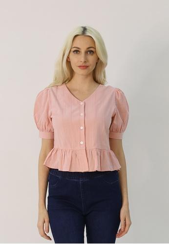 Cheetah pink C.Union Cotton Peplum Blouse - CUL-13888 9B246AAC2073E2GS_1