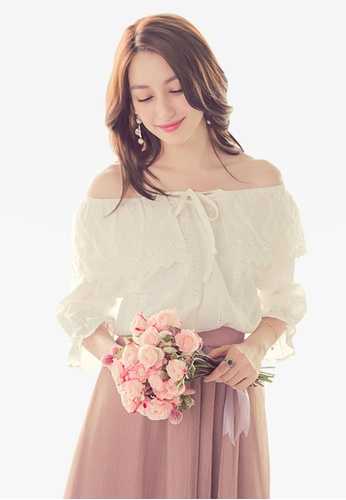 Yoco white Off-Shoulder Tie Neck Blouse 5CA41AA159AC80GS_1