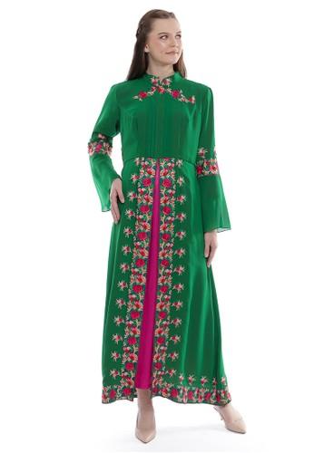 "Devain Kapoor green ""Arisia"" Double Layer Dress F476EAACBDE07CGS_1"