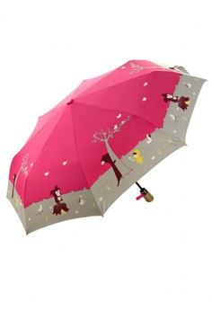 Fully Automatic Windproof Umbrella with UV Protection - Red Riding Hood Pink