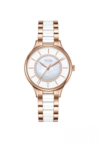 Solvil et Titus silver and gold Fashionista Women's 3 Hands Quartz Watch in Silver White Dial and Two-Tone Stainless Steel Ceramic Bracelet 962E0AC2A8A016GS_1