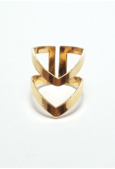 2 Layer Gold V Ring