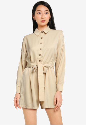 ZALORA BASICS beige Casual Shirt Playsuit 80C74AAAEDC202GS_1