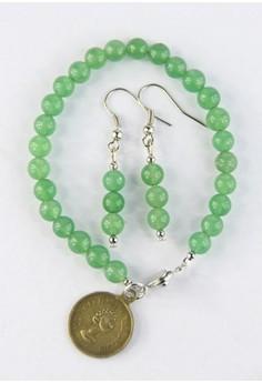 Round Jade Bracelet With Earrings