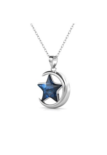 Her Jewellery blue and silver Starry Moon Pendant -  Made with premium grade crystals from Austria HE210AC0G59ASG_1